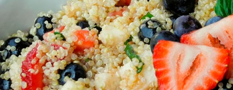 Red, White, and Blue Quinoa Salad, perfect for Fourth of July
