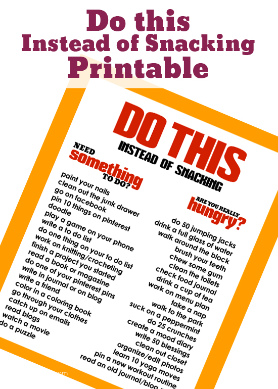 Stop Are you really hungry FREE Do this instead of snacking Printable