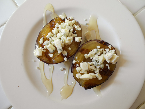 Grilled Plums with Blue Cheese & Honey