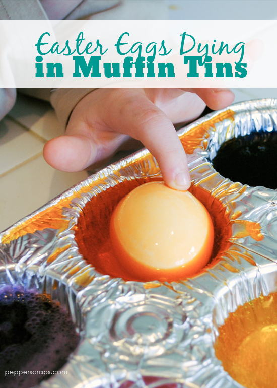 Easter Egg Dying In Muffin Tins