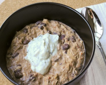 Creamy Black Bean Chicken Chili with Cilantro Greek Yogurt