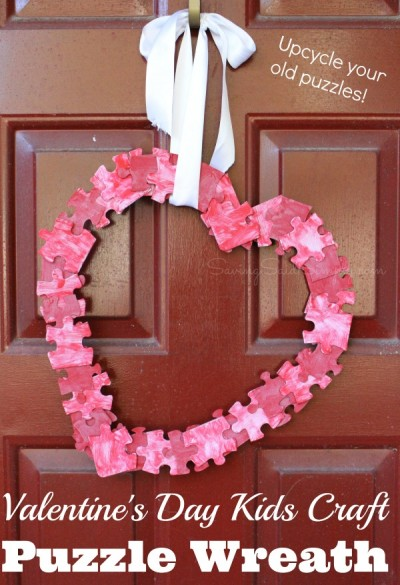 Valentines-kids-craft-puzzle-wreath by Saving Said Simply