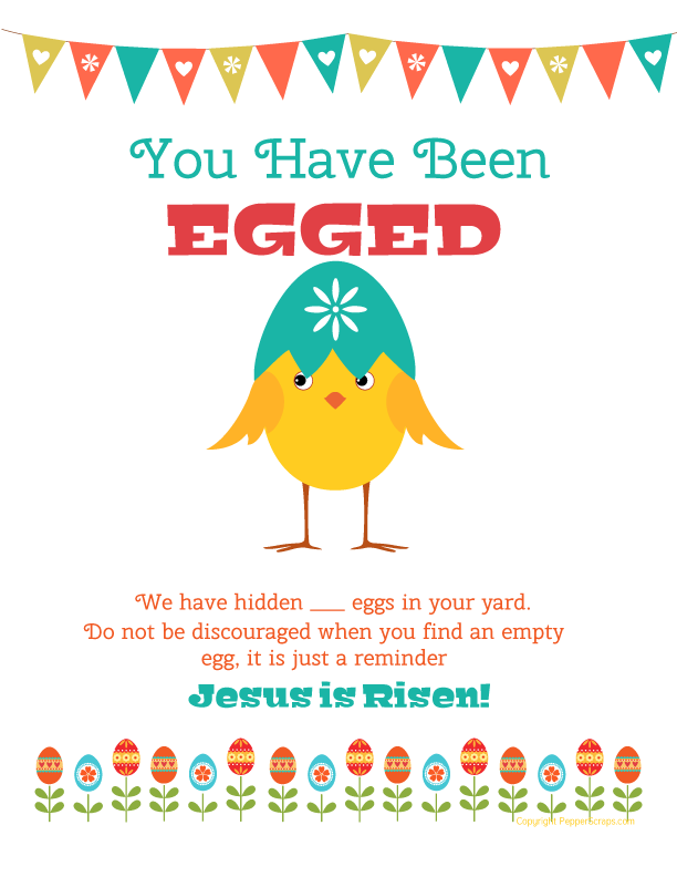 You Have Been Egged Free Printable