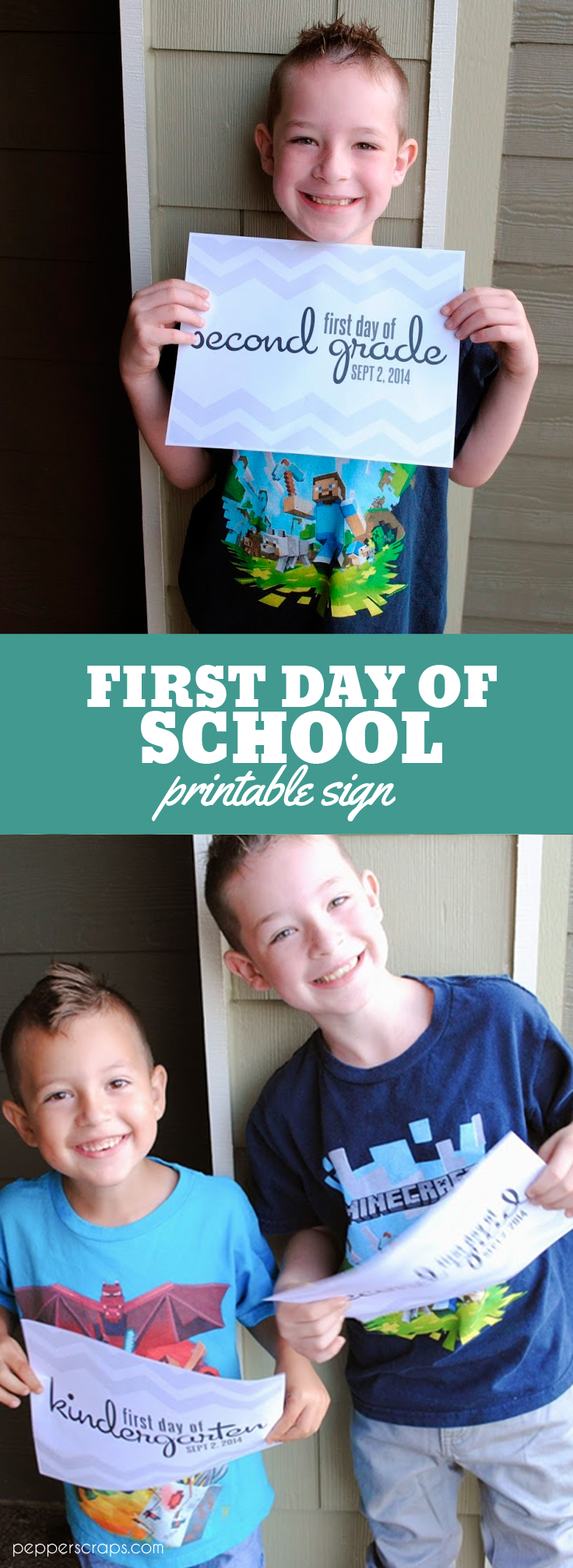 Free First Day of School Printable Signs by Pepper Scraps