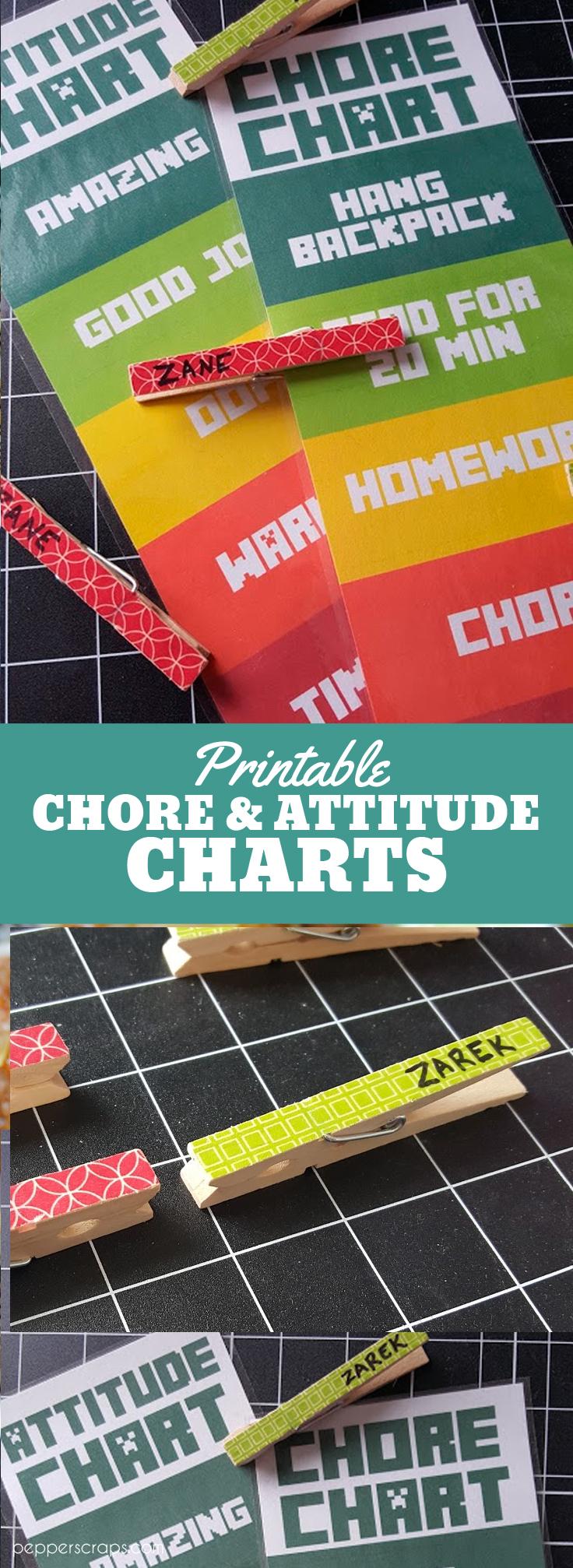 Printable Chore Charts and Attititude Charts with Washi Clothes Pins