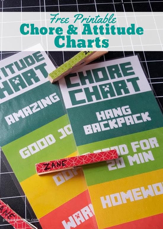 Printable Chore Charts and Attititude Charts
