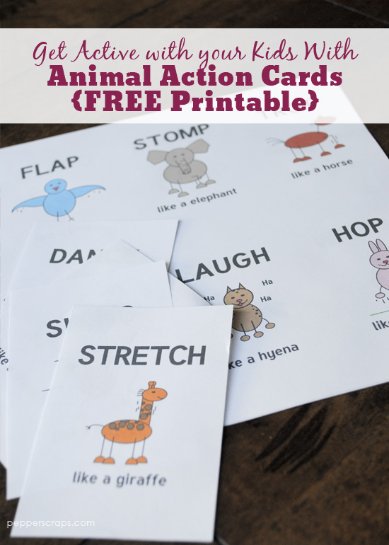 get active with your kids with animal action cards with free printable - Kids Free Printables
