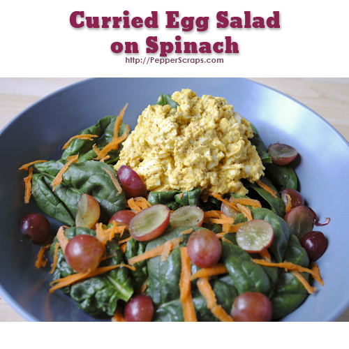 Curried Egg Salad on Spinach – Pepper Scraps