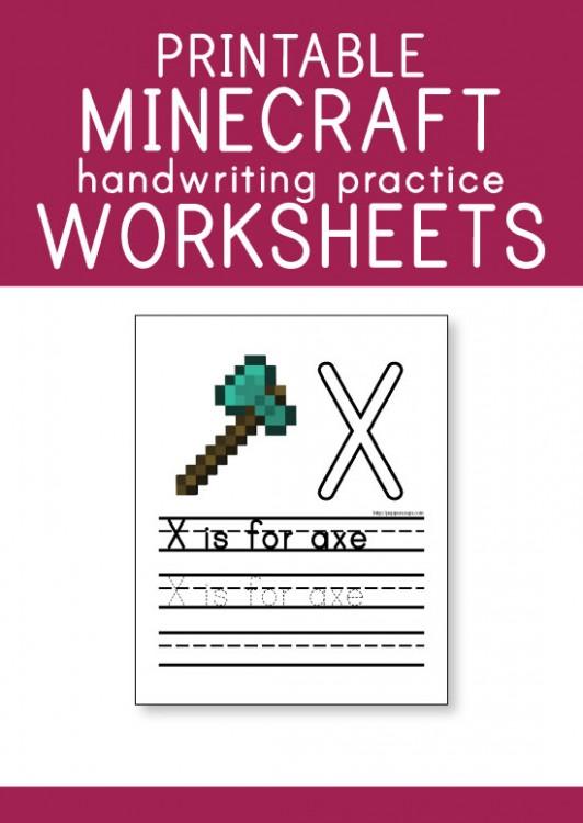 free printable minecraft handwriting practice worksheets pepper scraps. Black Bedroom Furniture Sets. Home Design Ideas