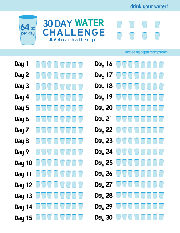 picture regarding Water Tracker Printable referred to as 30 Working day H2o Dilemma #64ozChallenge Pepper Ss
