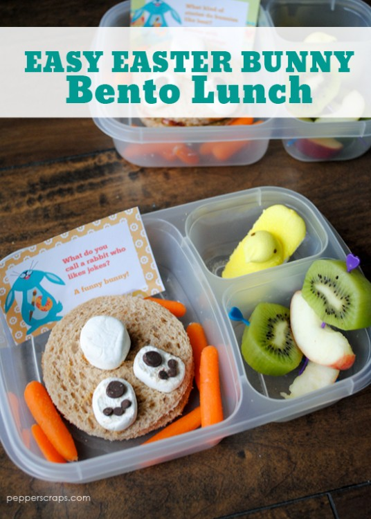 Easy easter bunny bento lunch how to video pepper scraps for Easy easter lunch menu