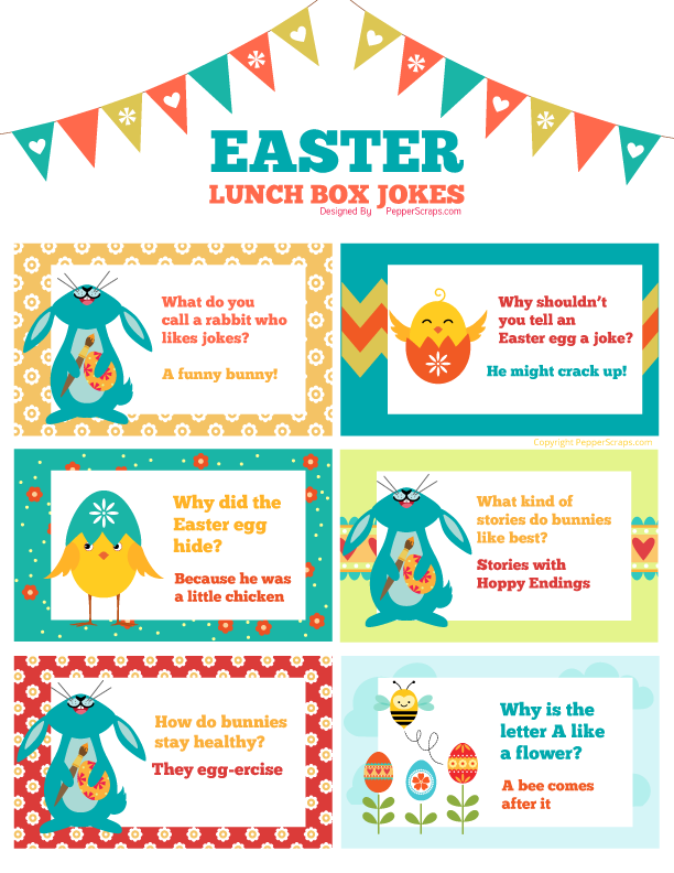 graphic about Printable Jokes named Cost-free Printable Easter Spring Lunch Box Jokes Pepper Ss