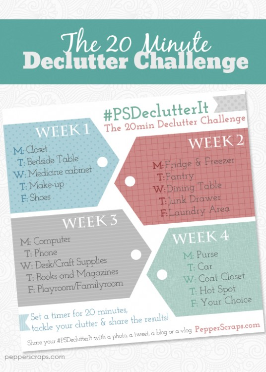 get organized with the 20 minute declutter challenge