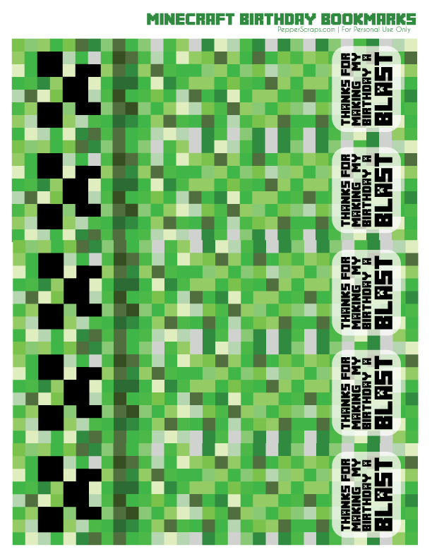 graphic about Free Printable Minecraft titled Free of charge Printable Minecraft Birthday Bookmarks Pepper Ss