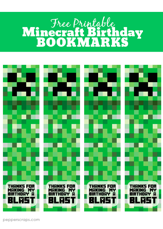 picture regarding Minecraft Birthday Printable referred to as Free of charge Printable Minecraft Birthday Bookmarks Pepper Ss
