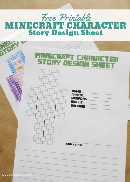 Free Printable Minecraft Character Story Design Sheet
